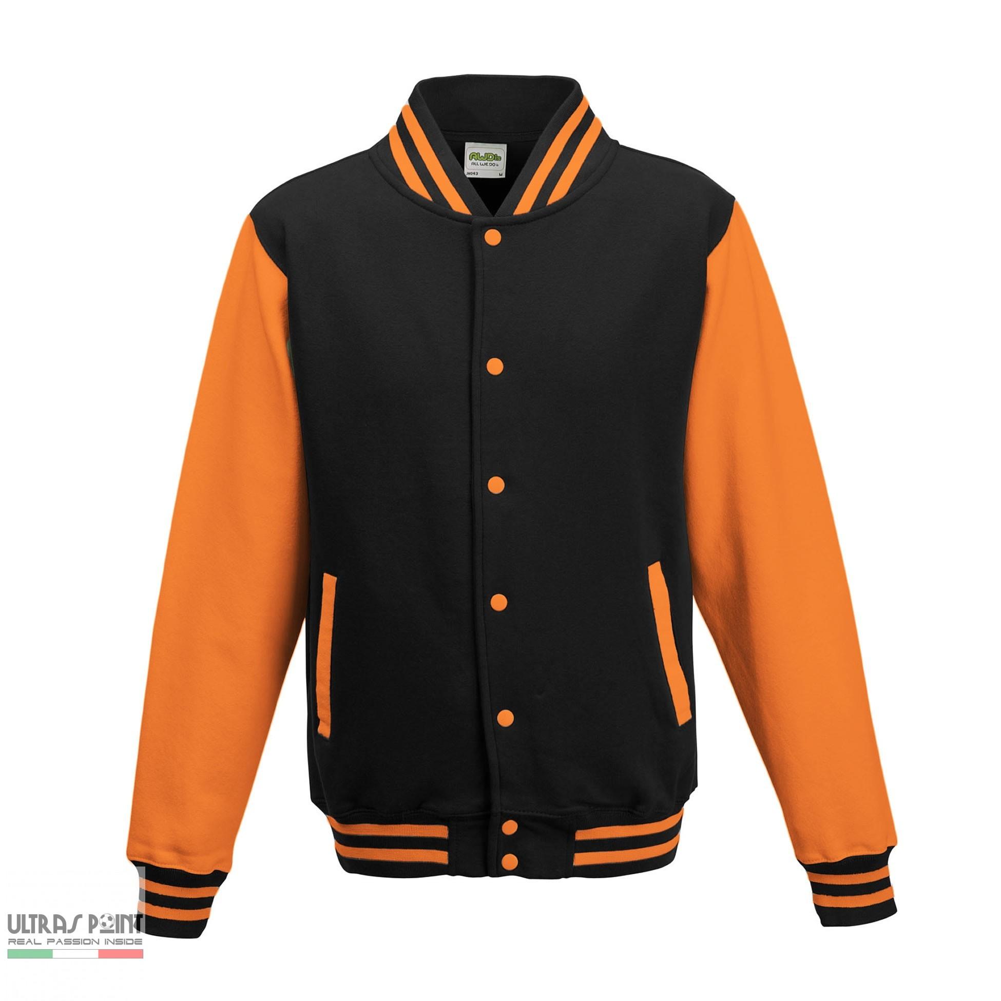 XL Colore Taglia Nero Giallo Felpa College Uomo Giacca Baseball AWDis Varsity Jacket Maniche A Contrasto